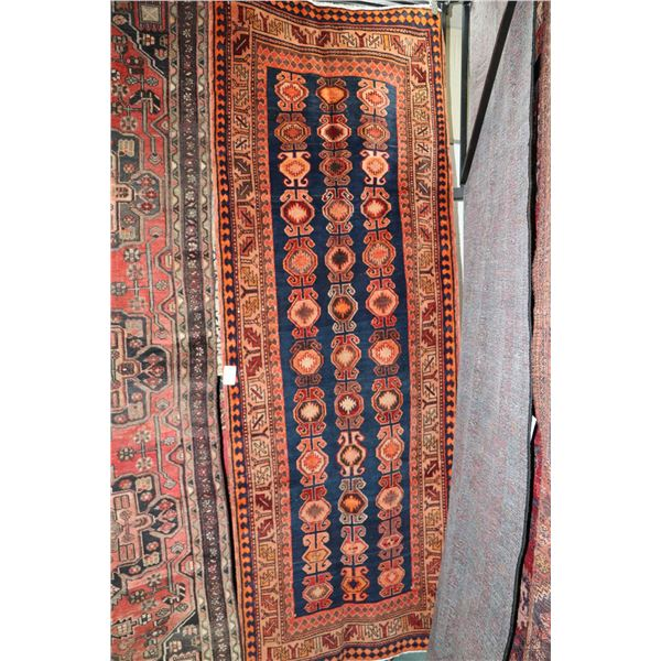 100% Iranian Ardebill carpet runner with overall geometric pattern, blue background and highlights o