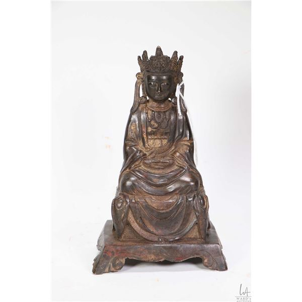 """Cast metal seated figure of Buddha, purportedly 18th century 9 1/2"""" in height"""