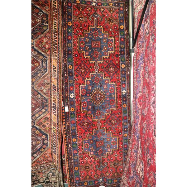 100% Iranian Hamedan carpet runner with triple medallion, red background, stylized floral design and