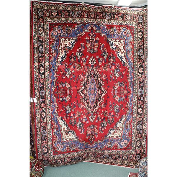 100% Iranian Hamaden carpet with center medallion and red background, overall floral design and high