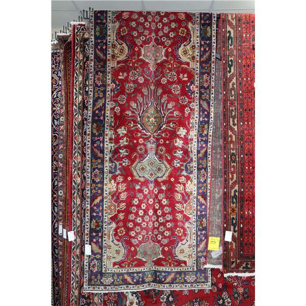 100% Iranian Tabriz carpet runner with multiple medallion, soft red background, overall floral desig