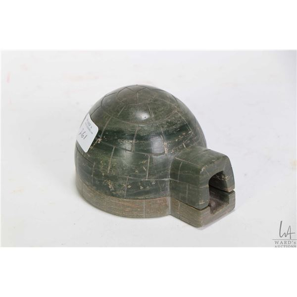 """Inuit soapstone carving of a igloo with figures and a seal, no artist signature seen, 2 1/2"""" in heig"""