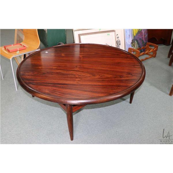 "Mid century design 47"" diameter rosewood coffee table"