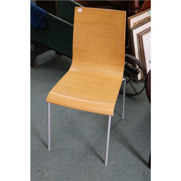 Mid century design bent wood chair on metal frame plus two wine racks