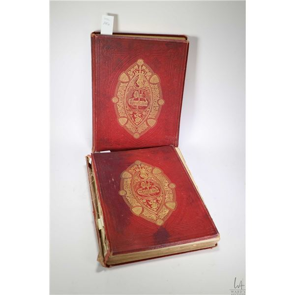 """Two antique volumes """"Old England: A Pictorial Museum"""" by Charles Knight including colour plates and"""
