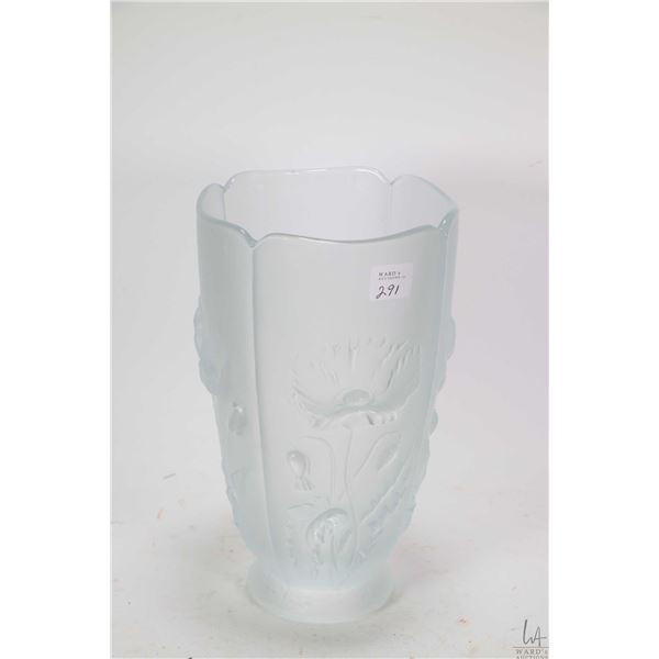 "Heavy Josef Inwald Barolac satin glass poppy motif vase, circa 1930, 9 1/2"" in height"