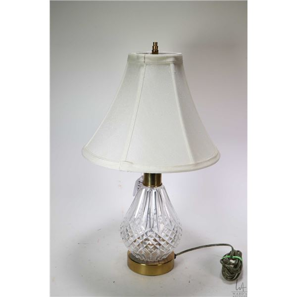 """Signed Waterford crystal bedside lamp with shade 18"""" in height. Not Available For Shipping. Local Pi"""