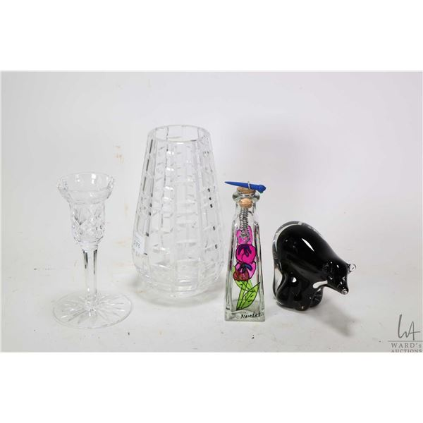 """Small tray of collectibles including signed Waterford cut crystal 7"""" flower vase and a signed Waterf"""