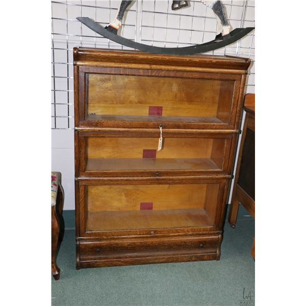 Three section oak barristers stacking bookcase made by The Globe-Wernicke Company Ltd. plus drawer b