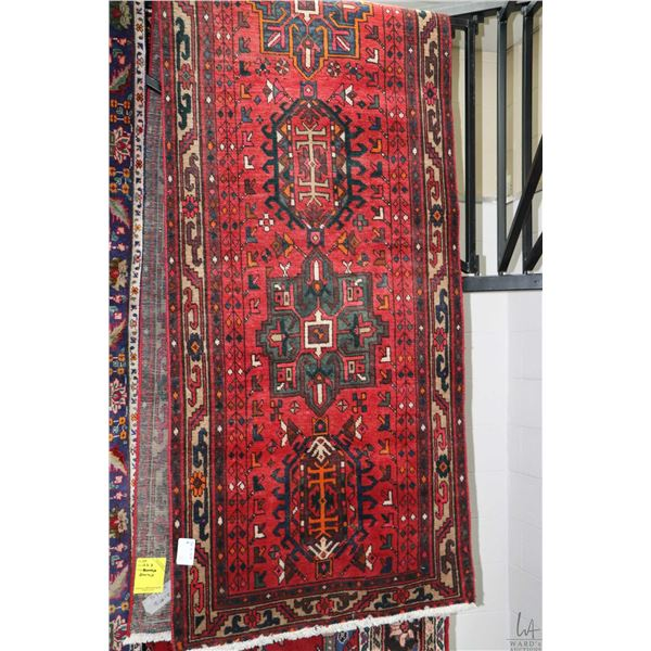 100% Iranian Gharaje carpet runner with multiple medallions, red background, highlights of blue, tau
