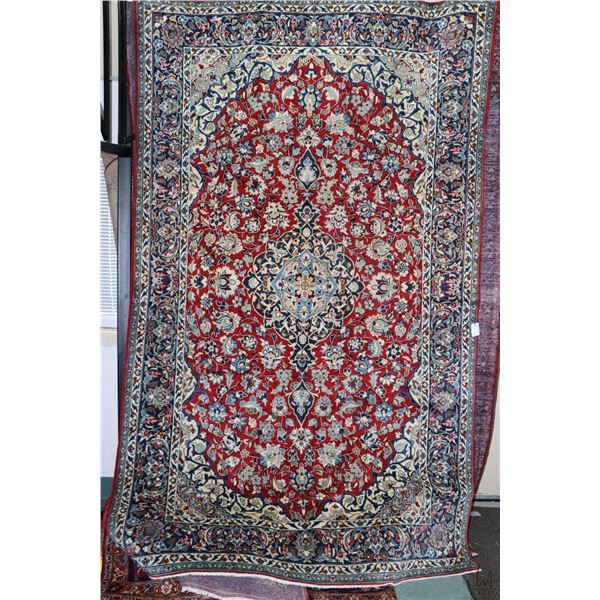 100% Iranian Najaf Abad area carpet with center medallion, overall floral design, red background and