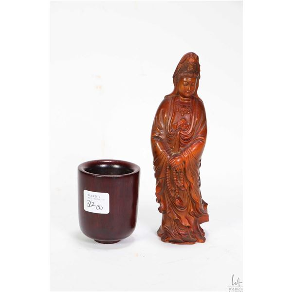 """Chinese boxwood carved figure of Guanlin 7"""" in height and a purportedly Sino-Tibetan ceremonial wine"""