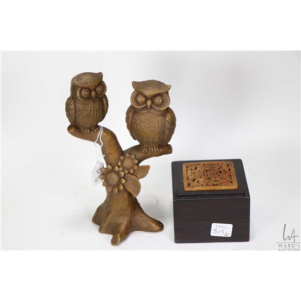 """Russet stone inlaid """"Blessing of Foutune"""" jewellery case and a """"Two Owl"""" metal sculpture 8 1/2"""" in h"""