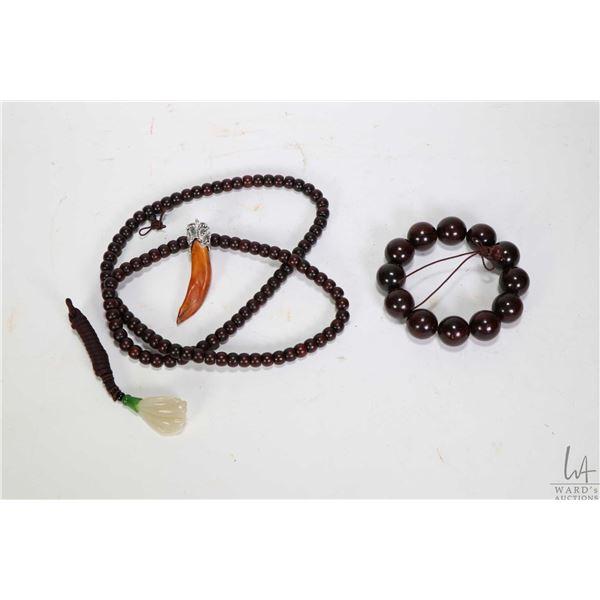 "Southern Asian purple tan wooden beads prayer necklace and bracelet plus a white Celadon jade ""lotus"