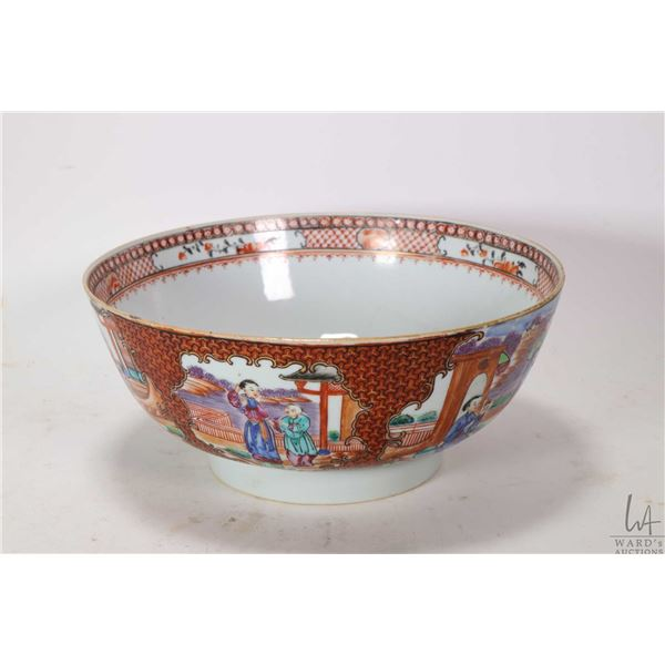 """Antique hand painted Chinese bowl with figural decoration, purportedly 1770-1800, 9"""" in diameter, no"""