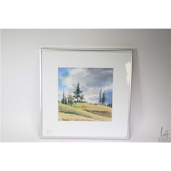 Framed original watercolour painting of a treed hillside, signed by artist Ingrid Behrens (?), 8 1/2