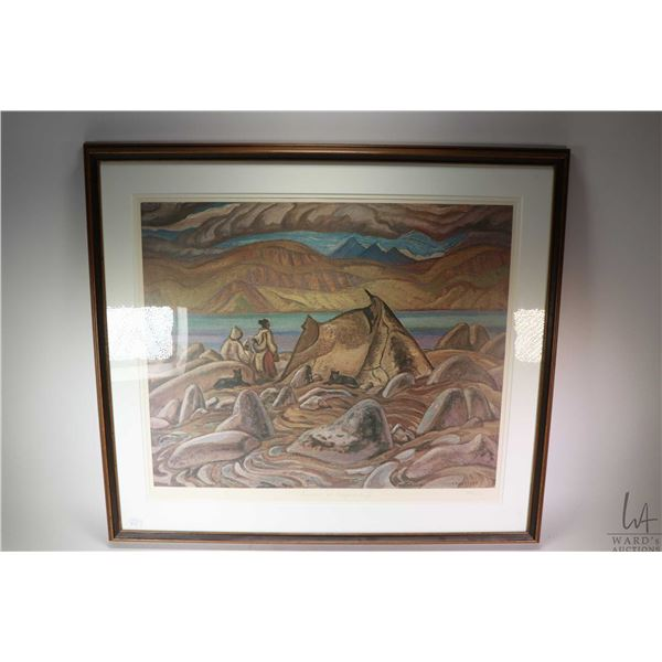 """Large framed limited edition Group of Seven print """"Summer at Pangnirtung"""" by A.Y. Jackson, 287/500."""