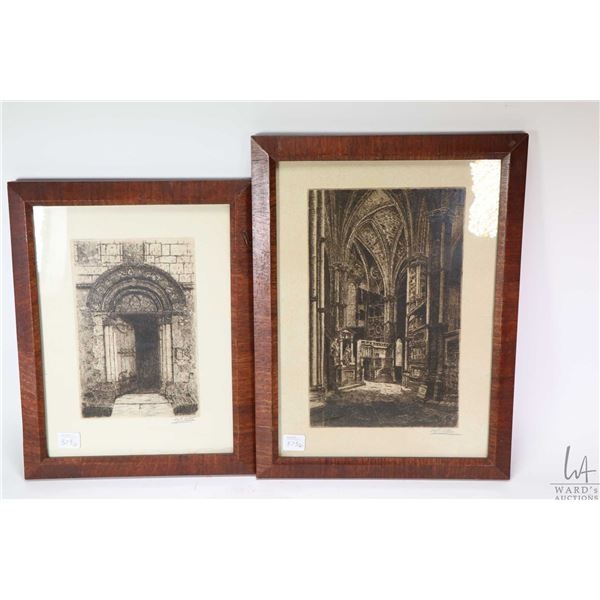 Two antique wood framed etchings including a cathedral interior and a door way, both pencil signed b