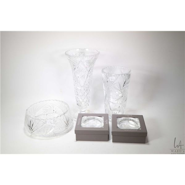 """Selection of crystal including two Rosenthal candle holders, a West German crystal vase 13 1/2"""" in h"""