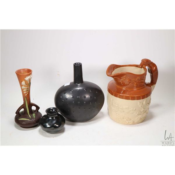 Four pieces of collectible glazed pottery including English made glazed jug with hunt scene, Rosevil