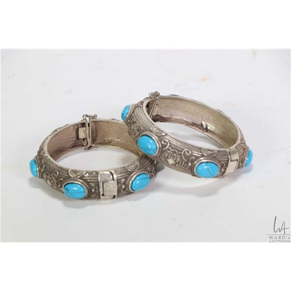 Pair of Oriental dowry bracelets set with turquoise