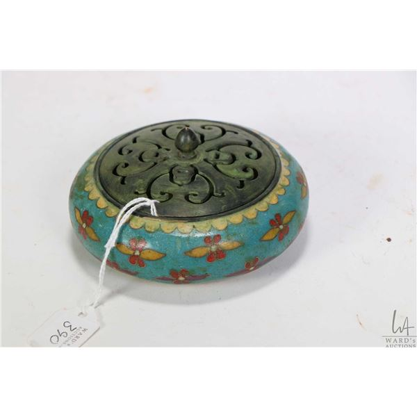"Bronze Cloisonn' ""Blossom"" incense burner purportedly 19th century 4 1/2"" in diameter"