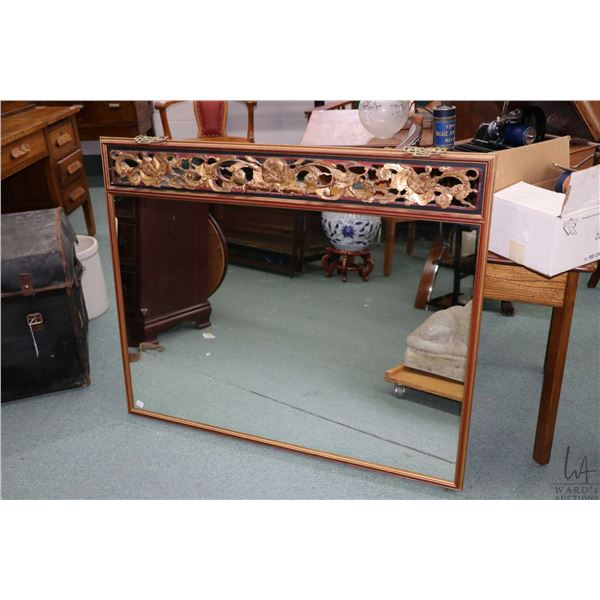 """Oriental blossom motif hanging wall mirror, overall dimensions 37"""" X 45"""". Not Available For Shipping"""