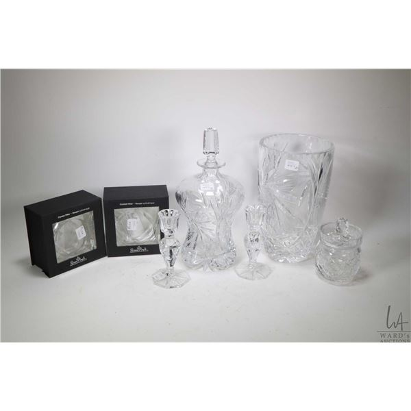 """Selection of crystal including set of two boxed Rosenthal candle holders, a 10"""" pinwheel crystal vas"""