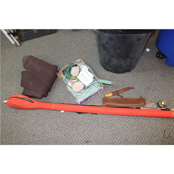 Selection of fly fishing equipment including a Sage Graphite III 8100 RPL rod with aluminium case an