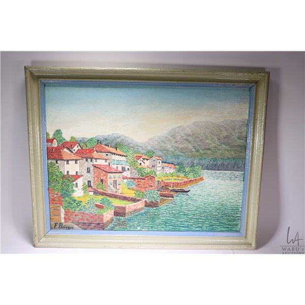 Vintage framed acrylic on board painting of European waterside village signed by artist F. Breiger,
