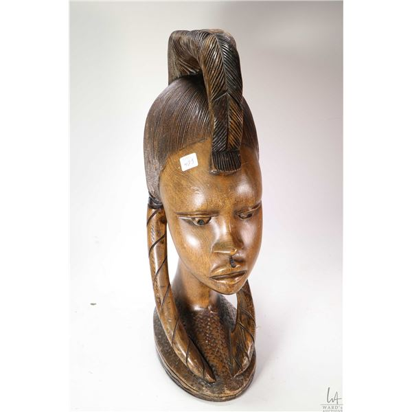 Large hand carved African female bust, initialled by artist -note purportedly purchased in Africa in
