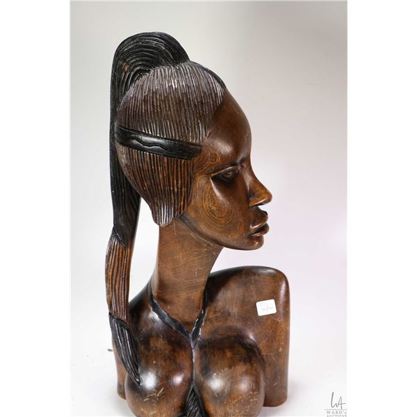 Large hand carved African female bust initialled by artist -note purportedly purchased in Africa in