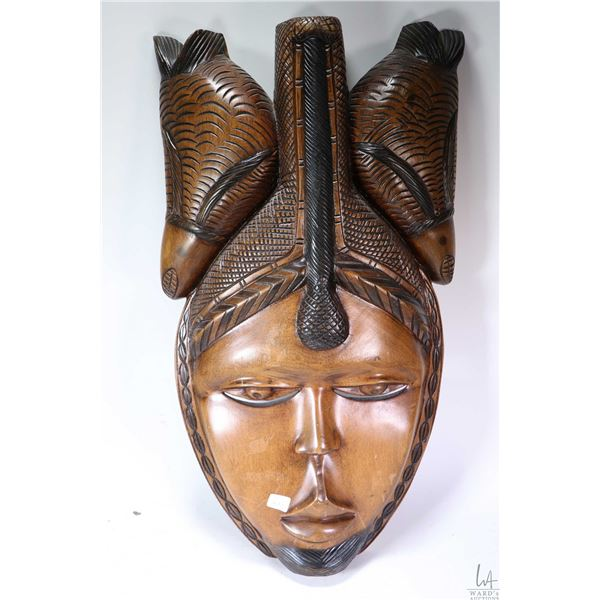 Large wall mount hand carved male mask in tribal head dress, initialled by artist 26  in height -not