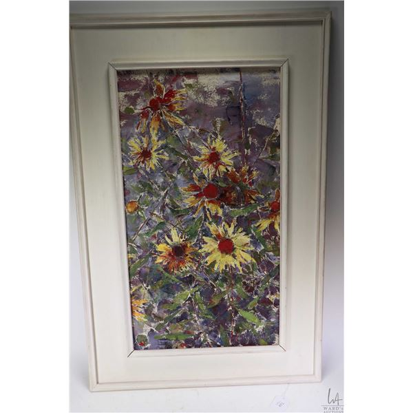"""Framed original acrylic on massonite painting of daisies signed by artist Dorothy Herman, 23"""" X 13""""."""