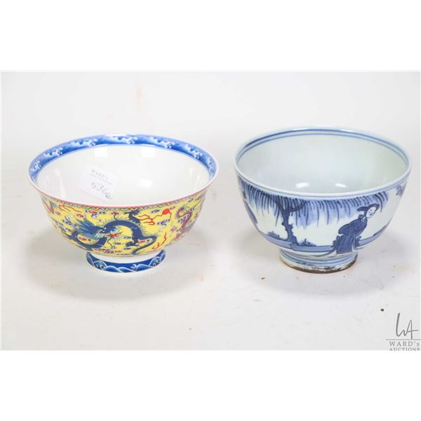 """Blue and white """"Field Trip"""" tea bowl, purportedly Wan-Li reign mark and a yellow ground """"Empire Drag"""