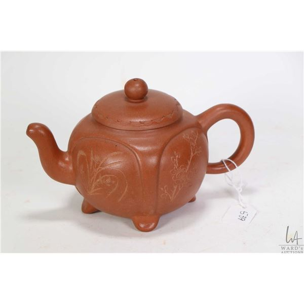 Plants of Four Seasons' purple clay teapot purportedly signed Hui I-Kung 4 1/2 in height