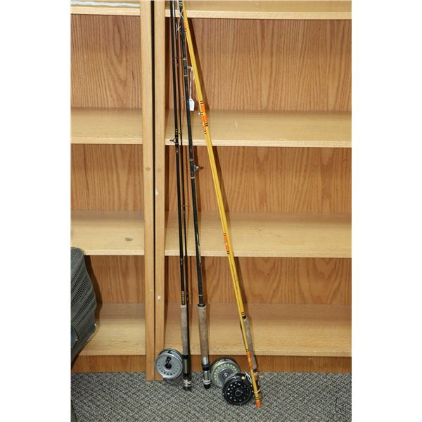 Selection of fly fishing equipment including three rods and reels, plus a vintage bamboo rod ( note