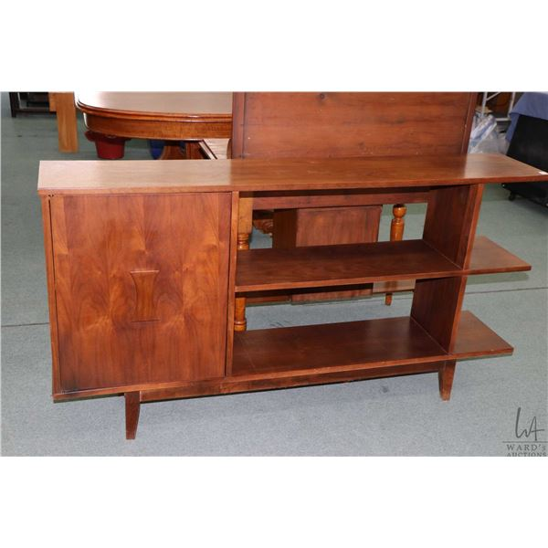 """Mid century free standing three tier room divider with cupboard accessible from both sides, 60"""" wide"""