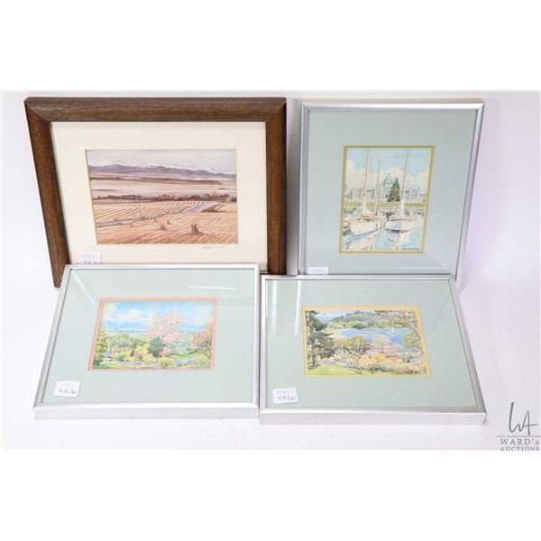 Five framed print including black and white grain elevator, three small prints of watercolours and a