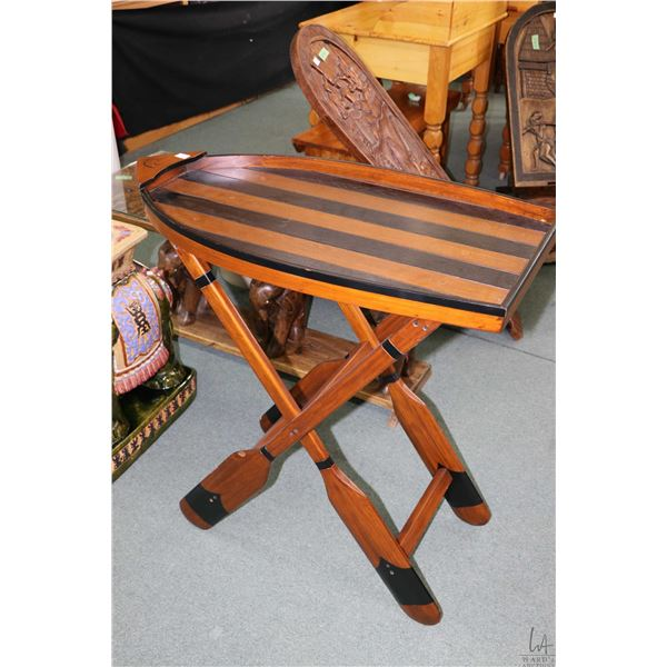 Ducks unlimited boat and paddle motif drink's table