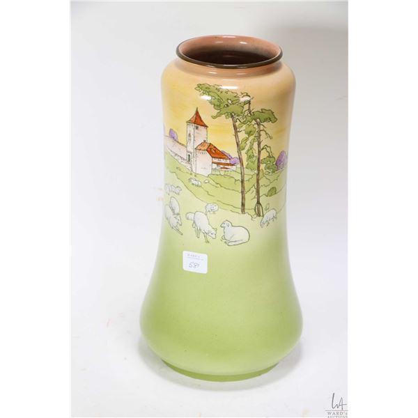 "Antique Frank Beardmore & Co. Fenton Southerland Art Ware ""Pasture"" glazed pottery vase, 12 1/2"" in"
