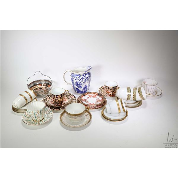"""Selection of Royal Crown Derby china including two Imari 2451 teacups and saucers plus matching 7"""" s"""