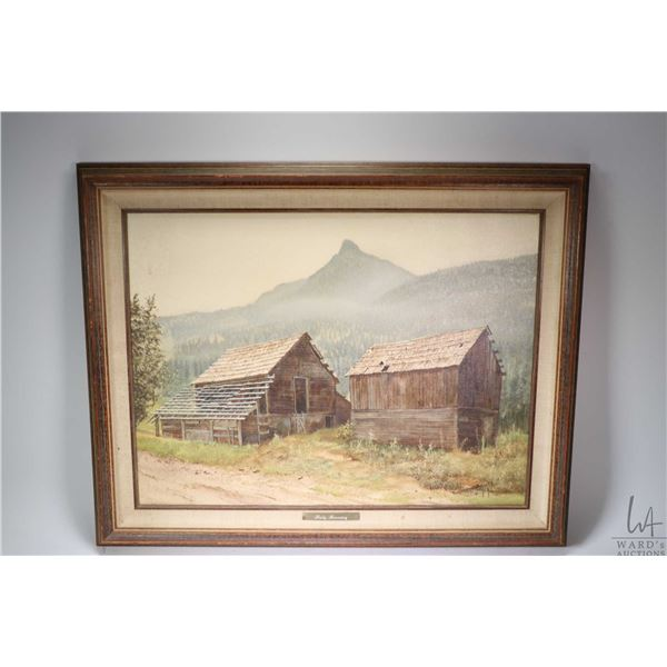 """Framed oil on canvas painting titled Misty Morning and labelled on verso """" Mountain Morning Mist (Ba"""