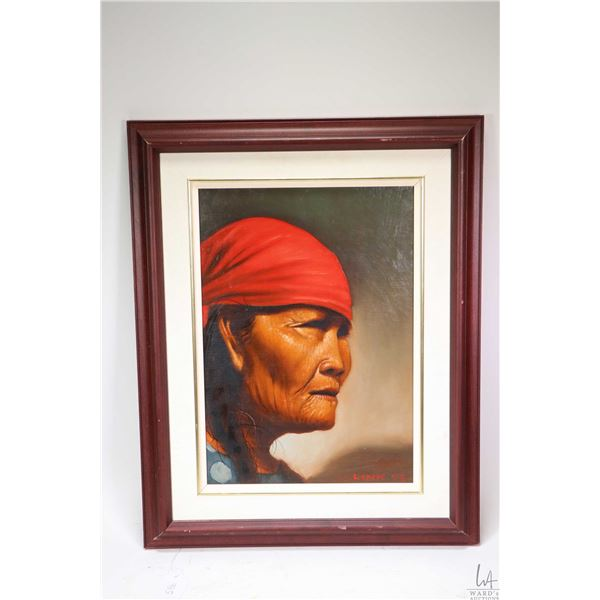 """Framed oil on board portrait painting of a First Nations woman signed by artist Link '74, 13 1/2"""" X"""