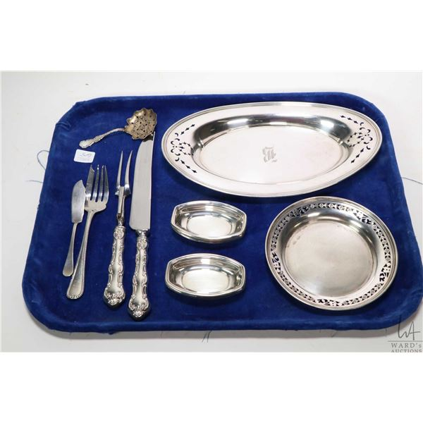 Tray lot of sterling silver collectibles including Birks pierced edge oval dish and a small Birks pi