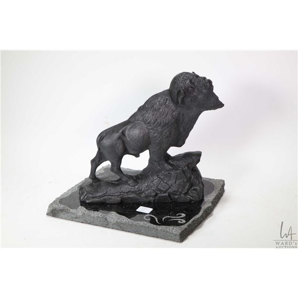 """Cast, appears to be pot metal Bison on granite base, 10"""" in height"""