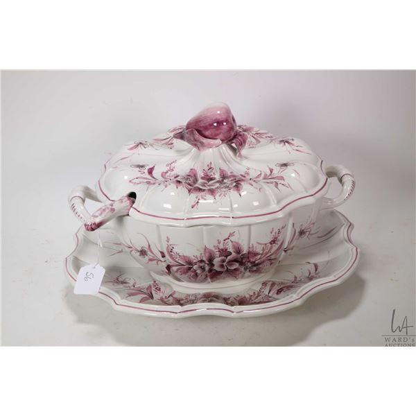 Italian made semi porcelain soup tureen with figural finial and ladle