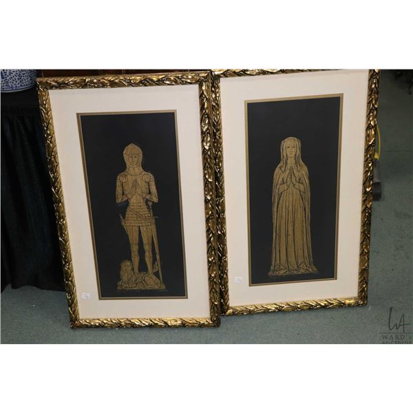 Two gilt framed simulated rubbings, Margaret Paris 1427 and Henry Paris 1427. Not Available For Ship