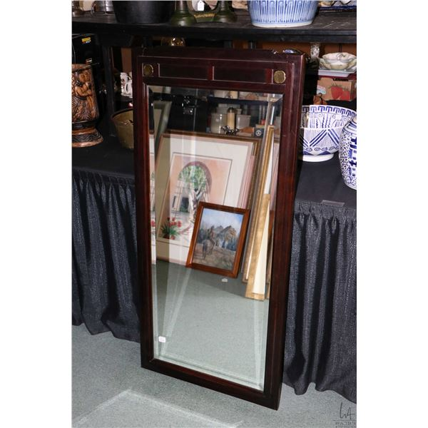 """Semi contemporary wood framed bevelled wall mirror 47"""" X 21 1/2"""". Not Available For Shipping. Local"""