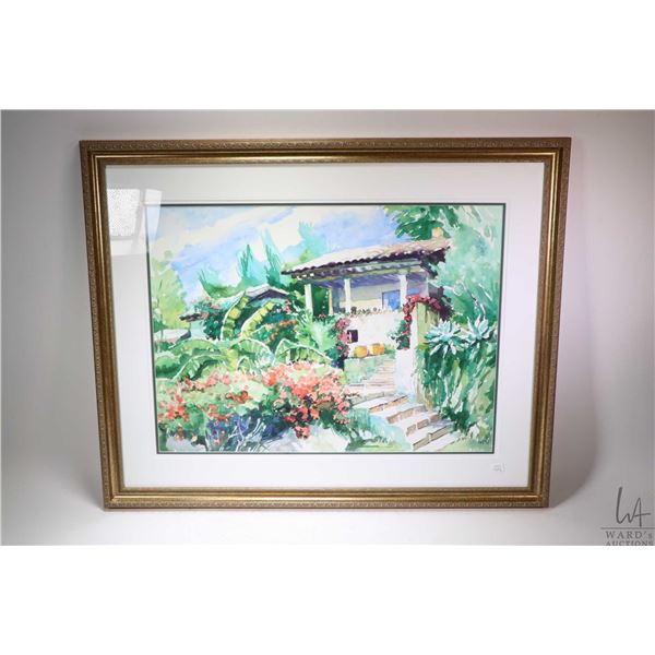 Three framed watercolour paintings, a Spanish villa and a garden scene, plus a courtyard scene, all